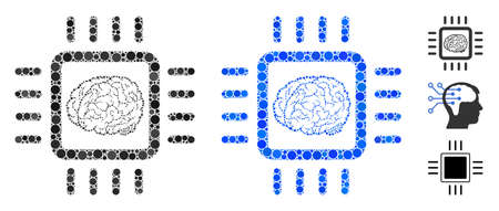 Neural chip mosaic of spheric dots in various sizes and shades, based on neural chip icon. Vector dots are organized into blue mosaic. Dotted neural chip icon in usual and blue versions.