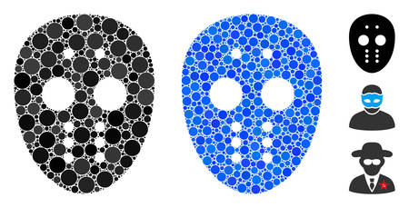 Maniac mask composition of filled circles in variable sizes and color tints, based on maniac mask icon. Vector filled circles are organized into blue illustration. Illustration