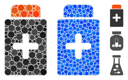 Medication bottle mosaic of small circles in various sizes and shades, based on medication bottle icon. Vector filled circles are organized into blue mosaic. Vectores