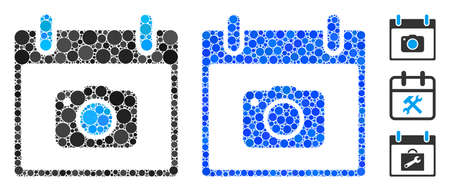 Photo camera calendar day composition of filled circles in various sizes and color tones, based on photo camera calendar day icon. Vector small circles are composed into blue composition.