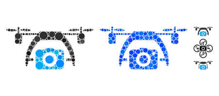 Photo drone composition of filled circles in different sizes and color tinges, based on photo drone icon. Vector round dots are combined into blue composition.