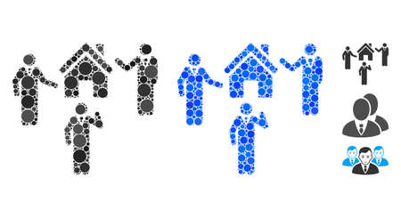 Realty discuss persons mosaic of small circles in various sizes and color tinges, based on realty discuss persons icon. Vector filled circles are grouped into blue mosaic. Çizim