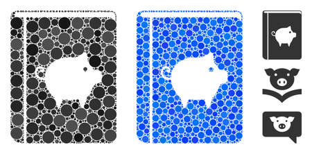 Pig handbook mosaic of round dots in different sizes and shades, based on pig handbook icon. Vector dots are composed into blue collage. Dotted pig handbook icon in usual and blue versions.