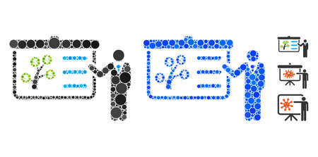 Presentation mosaic of small circles in different sizes and color tints, based on presentation icon. Vector random circles are combined into blue mosaic.