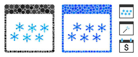 Snowflakes calendar page mosaic of small circles in variable sizes and shades, based on snowflakes calendar page icon. Vector random circles are composed into blue collage.