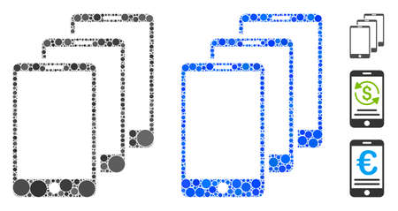 Smartphones composition of circle elements in different sizes and color tints, based on smartphones icon. Vector round elements are combined into blue composition.