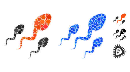 Sperm composition of circle elements in variable sizes and color tones, based on sperm icon. Vector circle elements are composed into blue composition. Dotted sperm icon in usual and blue versions.