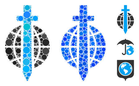 Sword globe mosaic of round dots in various sizes and color tints, based on sword globe icon. Vector round dots are combined into blue mosaic. Dotted sword globe icon in usual and blue versions.