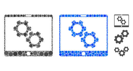 Tablet settings gears mosaic of round dots in various sizes and color tints, based on tablet settings gears icon. Vector round dots are united into blue mosaic.