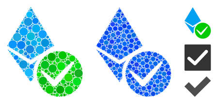 Valid Ethereum crystal composition of filled circles in different sizes and shades, based on valid Ethereum crystal icon. Vector filled circles are composed into blue composition.
