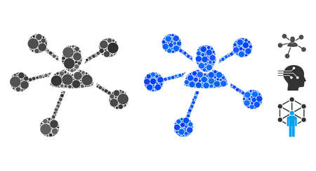 User relations composition of spheric dots in different sizes and shades, based on user relations icon. Vector round dots are united into blue composition.