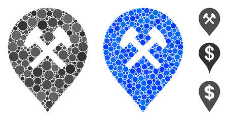 Workshop marker composition of round dots in variable sizes and color tinges, based on workshop marker icon. Vector round elements are grouped into blue illustration.