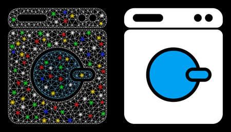 Glossy mesh washing machine icon with lightspot effect. Abstract illuminated model of washing machine. Shiny wire carcass triangular network washing machine icon. Stock Illustratie