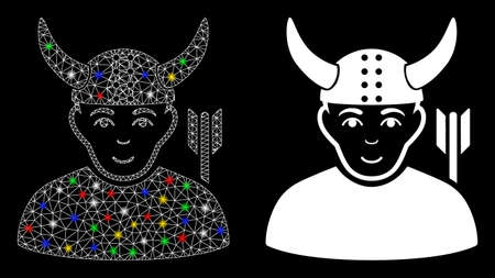 Glowing mesh horned warrior icon with lightspot effect. Abstract illuminated model of horned warrior. Shiny wire frame polygonal mesh horned warrior icon. Vector abstraction on a black background. Çizim