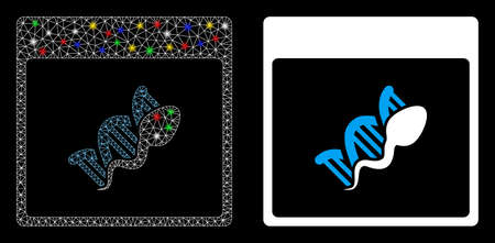 Bright mesh sperm DNA replication calendar page icon with lightspot effect. Abstract illuminated model of sperm DNA replication calendar page.