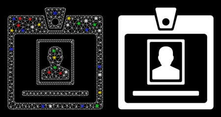 Glossy mesh person badge icon with glare effect. Abstract illuminated model of person badge. Shiny wire carcass triangular mesh person badge icon. Vector abstraction on a black background.