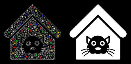 Glowing mesh cat house icon with lightspot effect. Abstract illuminated model of cat house. Shiny wire frame polygonal mesh cat house icon. Vector abstraction on a black background.