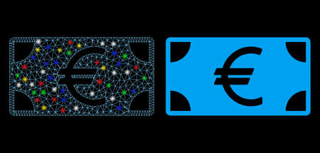 Glowing mesh Euro banknote icon with glare effect. Abstract illuminated model of Euro banknote. Shiny wire carcass polygonal mesh Euro banknote icon. Vector abstraction on a black background.