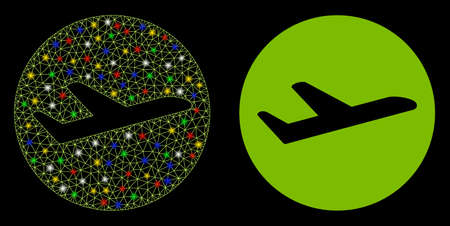 Glowing mesh valid airplane departure icon with glow effect. Abstract illuminated model of valid airplane departure. Shiny wire carcass polygonal mesh valid airplane departure icon.