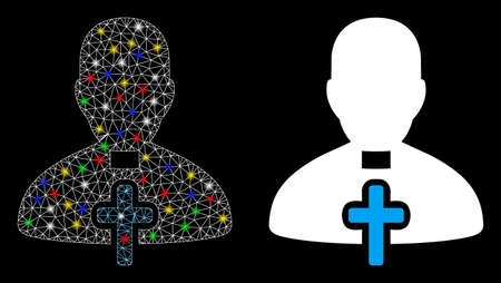 Glowing mesh catholic priest icon with lightspot effect. Abstract illuminated model of catholic priest. Shiny wire frame polygonal mesh catholic priest icon. Vector abstraction on a black background. Çizim