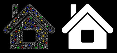 Glossy mesh home icon with sparkle effect. Abstract illuminated model of home. Shiny wire carcass triangular mesh home icon. Vector abstraction on a black background. Vettoriali