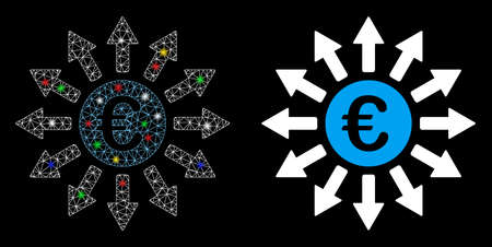 Glowing mesh Euro payments icon with lightspot effect. Abstract illuminated model of Euro payments. Shiny wire carcass triangular mesh Euro payments icon. Vector abstraction on a black background.
