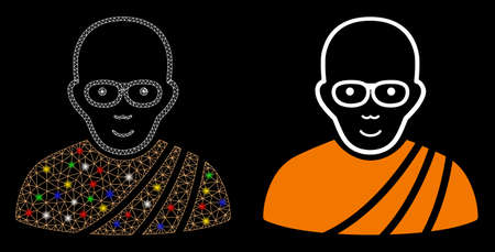 Flare mesh buddhist monk icon with sparkle effect. Abstract illuminated model of buddhist monk. Shiny wire carcass triangular network buddhist monk icon. Vector abstraction on a black background.