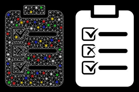 Bright mesh check list icon with sparkle effect. Abstract illuminated model of check list. Shiny wire frame polygonal mesh check list icon. Vector abstraction on a black background. 向量圖像