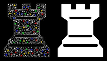 Glossy mesh chess tower icon with glitter effect. Abstract illuminated model of chess tower. Shiny wire frame polygonal mesh chess tower icon. Vector abstraction on a black background.