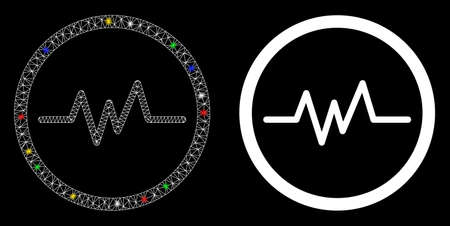 Bright mesh echogram icon with sparkle effect. Abstract illuminated model of echogram. Shiny wire frame polygonal network echogram icon. Vector abstraction on a black background.