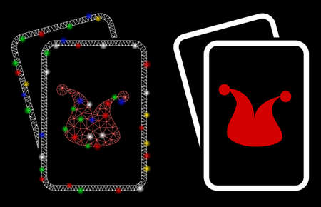 Glowing mesh joker gaming cards icon with glare effect. Abstract illuminated model of joker gaming cards. Shiny wire carcass triangular mesh joker gaming cards icon.