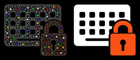 Glowing mesh keypad locked icon with sparkle effect. Abstract illuminated model of keypad locked. Shiny wire frame triangular mesh keypad locked icon. Vector abstraction on a black background. Çizim