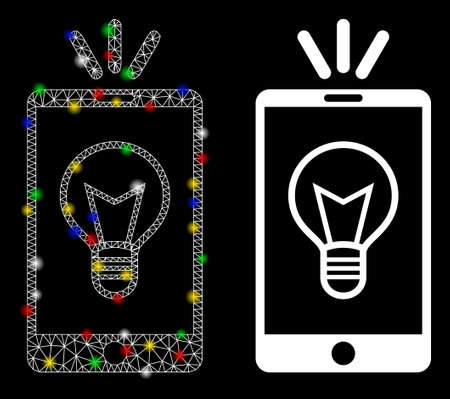 Glowing mesh mobile lamp light icon with lightspot effect. Abstract illuminated model of mobile lamp light. Shiny wire frame triangular mesh mobile lamp light icon.