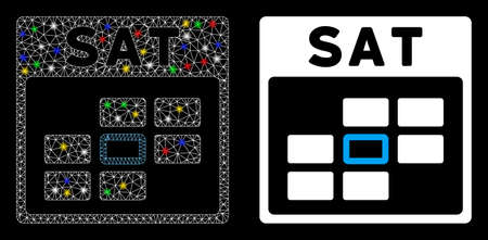 Glossy mesh Saturday calendar grid icon with sparkle effect. Abstract illuminated model of Saturday calendar grid. Shiny wire carcass polygonal mesh Saturday calendar grid icon.