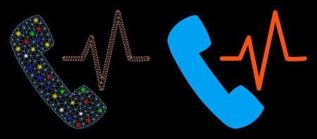 Bright mesh telephony icon with glare effect. Abstract illuminated model of telephony. Shiny wire frame polygonal mesh telephony icon. Vector abstraction on a black background.