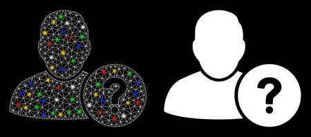 Glowing mesh user question icon with glare effect. Abstract illuminated model of user question. Shiny wire carcass triangular network user question icon. Vector abstraction on a black background.