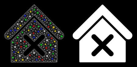 Glossy mesh wrong house icon with lightspot effect. Abstract illuminated model of wrong house. Shiny wire frame triangular mesh wrong house icon. Vector abstraction on a black background.