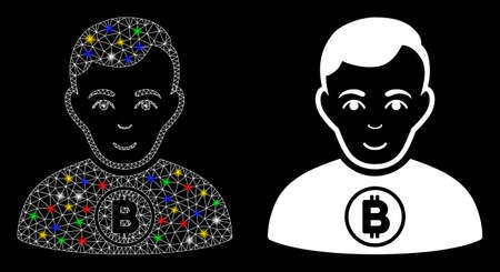 Glossy mesh Bitcoin man icon with glow effect. Abstract illuminated model of Bitcoin man. Shiny wire frame triangular mesh Bitcoin man icon. Vector abstraction on a black background.