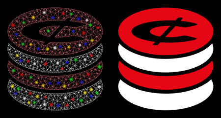 Flare mesh cent coins stack icon with sparkle effect. Abstract illuminated model of cent coins stack. Shiny wire carcass triangular mesh cent coins stack icon.