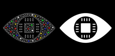 Glossy mesh chip eye lens icon with glare effect. Abstract illuminated model of chip eye lens. Shiny wire frame triangular mesh chip eye lens icon. Vector abstraction on a black background.