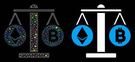 Glowing mesh cryptocurrency weight icon with glare effect. Abstract illuminated model of cryptocurrency weight. Shiny wire frame triangular mesh cryptocurrency weight icon. Ilustração