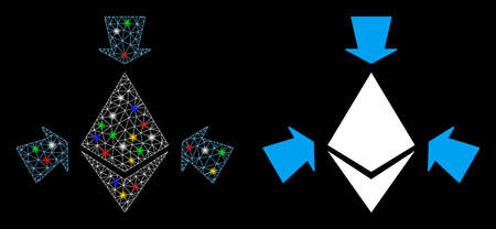 Glowing mesh Ethereum collect arrows icon with glare effect. Abstract illuminated model of Ethereum collect arrows. Shiny wire carcass triangular network Ethereum collect arrows icon.