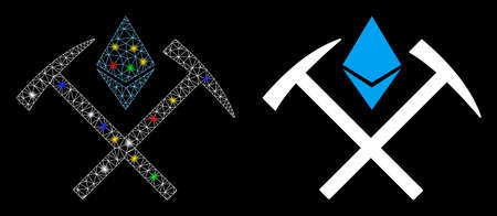 Flare mesh Ethereum mining hammers icon with glow effect. Abstract illuminated model of Ethereum mining hammers. Shiny wire carcass polygonal network Ethereum mining hammers icon.