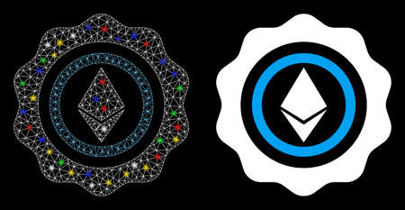 Glossy mesh Ethereum seal icon with sparkle effect. Abstract illuminated model of Ethereum seal. Shiny wire carcass triangular mesh Ethereum seal icon. Vector abstraction on a black background. Vettoriali