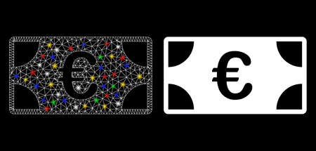 Flare mesh Euro banknote icon with glitter effect. Abstract illuminated model of Euro banknote. Shiny wire carcass triangular mesh Euro banknote icon. Vector abstraction on a black background.