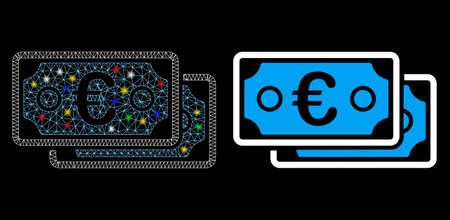 Glossy mesh Euro banknotes icon with sparkle effect. Abstract illuminated model of Euro banknotes. Shiny wire carcass polygonal mesh Euro banknotes icon. Vector abstraction on a black background.