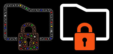 Glowing mesh folder locked icon with glow effect. Abstract illuminated model of folder locked. Shiny wire carcass triangular mesh folder locked icon. Vector abstraction on a black background.