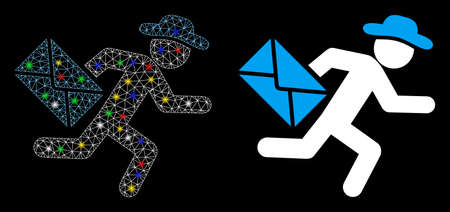 Glowing mesh gentleman mail courier icon with lightspot effect. Abstract illuminated model of gentleman mail courier. Shiny wire carcass polygonal mesh gentleman mail courier icon.