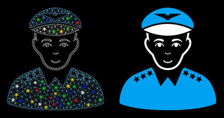 Glossy mesh military pilot officer icon with sparkle effect. Abstract illuminated model of military pilot officer. Shiny wire frame polygonal mesh military pilot officer icon.