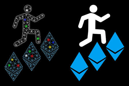 Flare mesh person climb Ethereum icon with lightspot effect. Abstract illuminated model of person climb Ethereum. Shiny wire carcass polygonal mesh person climb Ethereum icon. Vettoriali